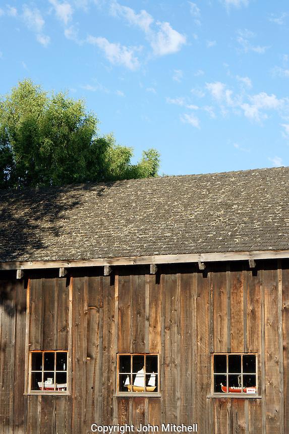 Restored wooden building in the Britannia Heritage Shipyard park, Steveston, British Columbia, Canada