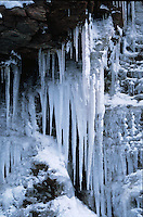 Snow and icicles on a mountainside. Colorado.