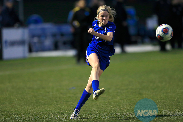 KANSAS CITY, MO - DECEMBER 03:  Kendra Stauffer (5) of Grand Valley State University kicks the ball against Western Washington University during the Division II Women's Soccer Championship held at Children's Mercy Victory Field at Swope Soccer Village on December 03, 2016 in Kansas City, Missouri. Western Washington University beat Grand Valley State University 3-2 to win the national title.  (Photo by Jack Dempsey/NCAA Photos via Getty Images)