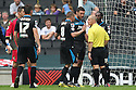 Stevenage players protest to referee Andy Woolmer about the awarding off a penalty<br />  - MK Dons v Stevenage - Sky Bet League One - Stadium MK, Milton Keynes - 28th September 2013. <br /> © Kevin Coleman 2013