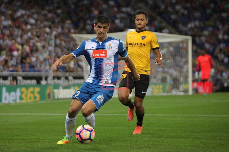 League Santander 2016/2017. Game: 2.<br /> RCD Espanyol vs Malaga CF: 2-2.<br /> Gerard Moreno vs Roberto Rosales.