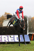 Race winner First Fandango ridden by Michael Byrne in jumping action during the Great Snoring Beginners Chase