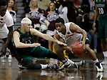 SIOUX FALLS, SD: MARCH 25:  Zach Schneider #33 of Northwest Missouri State falls away from a loose ball fielded by Jason Jolly #1 of Fairmont State during the Men's Division II Basketball Championship game on March 25, 2017 at the Denny Sanford Premier Center in Sioux Falls, SD. (Photo by Dick Carlson/Inertia)