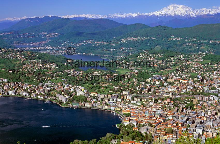 CHE, Schweiz, Tessin, Blick vom Monte Bre auf Lugano am Luganer See   CHE, Switzerland, Ticino, view from Monte Bre across Lago Lugano and Lugano city