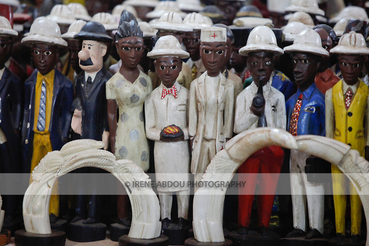At the 12th biannual Salon International de l'Artisanat de Ouagadougou (SIAO) in Burkina Faso, wood and metal sculptures, and other handicrafts are on display.