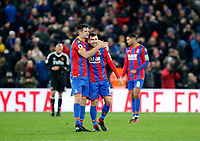 Scott Dann of Crystal Palace hugs match winner James McArthur during the EPL - Premier League match between Crystal Palace and Watford at Selhurst Park, London, England on 12 December 2017. Photo by Carlton Myrie / PRiME Media Images.