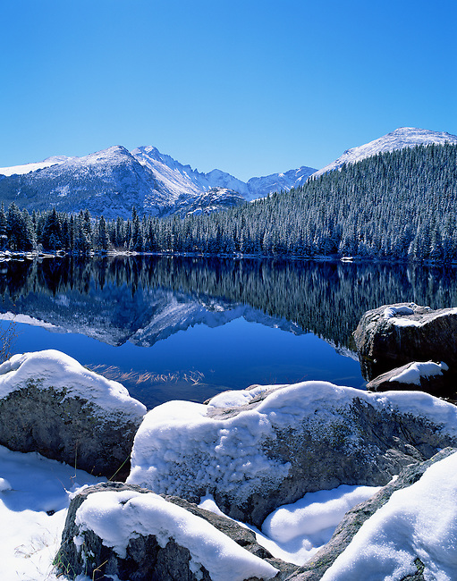 snow on a clear morning at Bear Lake in Rocky Mountain National Park, Colorado, USA