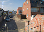 View of housing to Wonderland amusements, Jaywick, Essex, England