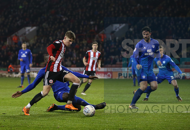 David Brooks of Sheffield Utd blocked by Sol Bamba of Cardiff City during the Championship match at Bramall Lane Stadium, Sheffield. Picture date 02nd April, 2018. Picture credit should read: Simon Bellis/Sportimage
