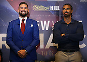 4th October 2017, Park Plaza, London, England; Tony Bellew versus David Haye, The Rematch, Press Conference; Tony Bellew smiling while David Haye folds his arms as the both heavyweights pose for the media