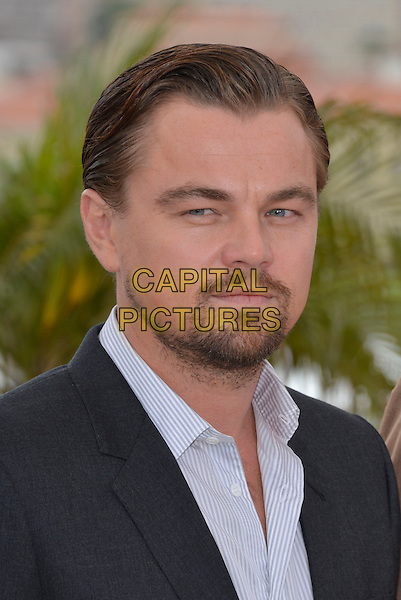 Leonardo DiCaprio.'The Great Gatsby' photocall - 66th International Cannes Film Festival, France 15th May 2013.headshot portrait blue shirt black grey gray suit beard facial hair.CAP/PL.©Phil Loftus/Capital Pictures.