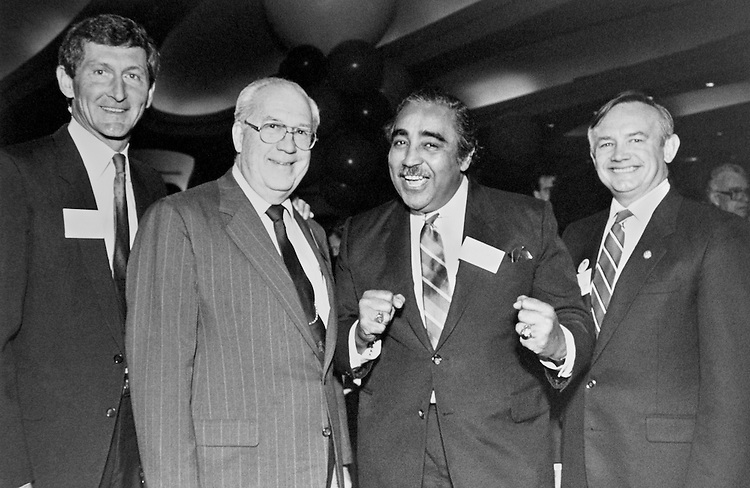 "Portrait of Representative Martin, Rep. Frank Jefferson Horton, D- N.Y., House of Representatives Member, Charles Bernard ""Charlie"" Rangel, D- N.Y., House of Representatives Member and Rep. George Joseph Hochbrueckner, D- N.Y., House of Representatives Member (all from New York delegation). October 16, 1989 (Photo by Laura Patterson/CQ Roll Call)"