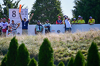 Hideki Matsuyama (JPN) watches his tee shot on 8 during round 1 foursomes of the 2017 President's Cup, Liberty National Golf Club, Jersey City, New Jersey, USA. 9/28/2017.<br /> Picture: Golffile   Ken Murray<br /> ll photo usage must carry mandatory copyright credit (&copy; Golffile   Ken Murray)
