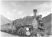 3/4 right side view of K-28 #475 at Silverton.<br /> D&amp;RGW  Silverton, CO