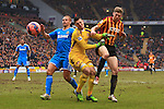 Wes Brown and Vito Mannone of Sunderland combine to keep out Jon Stead of Bradford - Bradford City vs. Sunderland - FA Cup Fifth Round - Valley Parade - Bradford - 15/02/2015 Pic Philip Oldham/Sportimage