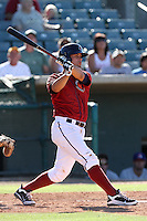 Erik Castro #24 of the Lancaster JetHawks bats against the Stockton Ports at Clear Channel Stadium on July 8, 2012 in Lancaster, California. Lancaster defeated Stockton 10-8. (Larry Goren/Four Seam Images)