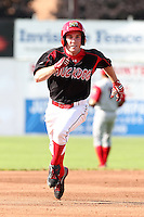 Batavia Muckdogs outfielder Mike O'Neil runs the bases during a game vs the Williamsport Crosscutters at Dwyer Stadium in Batavia, New York July 25, 2010.   Batavia defeated Williamsport 8-1.  Photo By Mike Janes/Four Seam Images