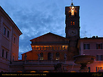 12th century Facade at nightfall Santa Maria in Trastavere Trastevere Rome