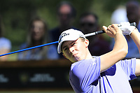 Matthew Fitzpatrick (ENG) tees off the 6th tee during Sunday's Final Round 4 of the 2018 Omega European Masters, held at the Golf Club Crans-Sur-Sierre, Crans Montana, Switzerland. 9th September 2018.<br /> Picture: Eoin Clarke | Golffile<br /> <br /> <br /> All photos usage must carry mandatory copyright credit (© Golffile | Eoin Clarke)