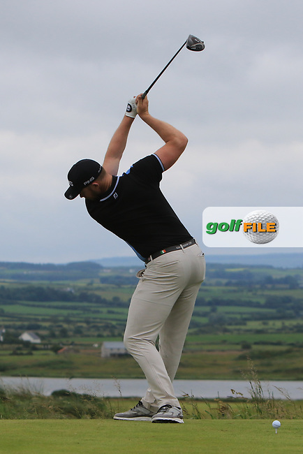 Peter O'Keeffe (Douglas) on the 18th tee during Round 2 of the North of Ireland Amateur Open Championship 2019 at Portstewart Golf Club, Portstewart, Co. Antrim on Tuesday 9th July 2019.<br /> Picture:  Thos Caffrey / Golffile<br /> <br /> All photos usage must carry mandatory copyright credit (© Golffile | Thos Caffrey)