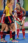 ENG - London, England, August 28: During the women semi-final match between England (red) and Spain (yellow) on August 28, 2015 at Lee Valley Hockey and Tennis Centre, Queen Elizabeth Olympic Park in London, England. Final score 2-1 (1-0). (Photo by Dirk Markgraf / www.265-images.com) *** Local caption *** Sam QUEK #13 of England