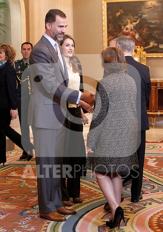 Princes Felipe and Letizia of Spain attend in audience a representation of the University-Business Fundation of the University of Valencia-ADEIT..May 22 ,2012. (ALTERPHOTOS/Acero)