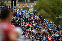 Bath fans in the crowd wave flags of support. Gallagher Premiership match, between Bath Rugby and Gloucester Rugby on September 8, 2018 at the Recreation Ground in Bath, England. Photo by: Patrick Khachfe / Onside Images