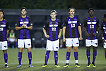 Members of the High Point Panthers stand for player introductions prior to the game against the Wake Forest Demon Deacons at W. Dennie Spry Soccer Stadium on October 9, 2018 in Winston-Salem, North Carolina. The Demon Deacons defeated the Panthers 4-2.  (Brian Westerholt/Sports On Film)