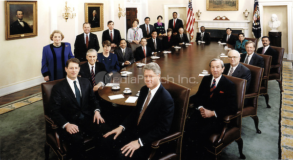 Official photo of United States President Bill Clinton's Cabinet taken in the Cabinet Room of the White House in Washington, DC on January 11, 1994.  Seated from left to right: President Clinton, Secretary of State Warren Christopher, Secretary of Defense Les Aspin, Secretary of Interior Bruce Babbitt, Secretary of Commerce Ron Brown, Secretary of Health and Human Services Donna Shalala, Secretary of Transportation Federico Pena, Secretary of Veterans Affairs Jesse Brown, Secretary of Education Richard Riley, Secretary of Energy Hazel O'Leary, Secretary of Housing and Urban Development Henry Cisneros, Secretary of Labor Robert Reich, Secretary of Agriculture Mike Espy, Attorney General Janet Reno, Secretary of Treasury Lloyd Bentsen, and Vice President Al Gore.  Standing, from front to back: United Nations Ambassador Madeleine Albright, White House Chief of Staff Thomas &quot;Mack&quot; McLarty, US Trade Representative Mickey Kantor, Council of Economic Advisors Chair Laura D'Andrea Tyson, Director of the Office of Management and Budget Leon Panetta, Director of the Environmental Protection Agency Carol Browner, and Director of the Office of National Drug Control Policy Lee Brown.<br /> Credit: White House via CNP /MediaPunch