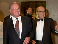 Quebec Premier Bernard Landry (L)  and<br />  Serge Losique  ; President of the World Film Festival (R) at the closing night ceromony of the 25th Festivall in Montreal , Canada, September3 rd 2001.<br /> <br /> Photo by Pierre Roussel