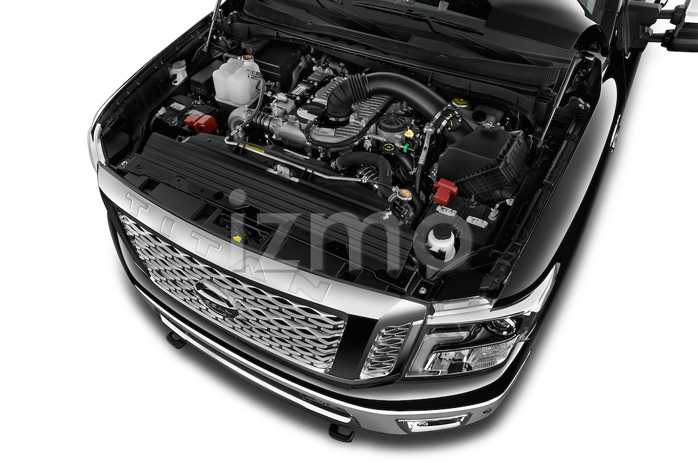 Car Stock 2016 Nissan Titan SL 4 Door Pickup Engine  high angle detail view