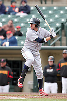 Lehigh Valley Ironpigs first baseman Jeff Larish #11 at bat during the first game of a double header against the Rochester Red Wings at Frontier Field on April 14, 2011 in Rochester, New York.  Rochester defeated Lehigh Valley with a walk off home run 3-1 in the bottom of the seventh.  Photo By Mike Janes/Four Seam Images