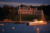 USA, Newport, RI - New York Yacht club building in late afternoon...