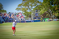 Minjee Lee (AUS) plays her approach into the 18th hole during the third round of the ISPS Handa Women&rsquo;s Australian Open, The Grange Golf Club, Adelaide SA 5022, Australia, on Saturday 16th February 2019.<br /> <br /> Picture: Golffile | David Brand<br /> <br /> <br /> All photo usage must carry mandatory copyright credit (&copy; Golffile | David Brand)