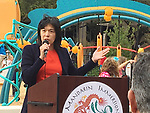 HISD Trustee Anne Sung thanks everyone for their contributions to the Dragon and Phoenix Spark Park dedication ceremony at Mandarin Immersion Magnet School on Oct. 27, 2017.