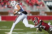 NWA Democrat-Gazette/BEN GOFF @NWABENGOFF<br /> Montaric Brown, Arkansas cornerback, trips up Tommy Stevens, Mississippi State quarterback, in the first quarter Saturday, Nov. 2, 2019, at Reynolds Razorback Stadium in Fayetteville.