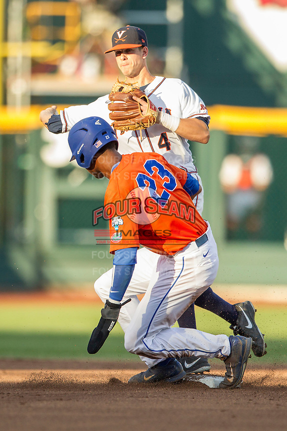 Florida Gators second baseman Ernie Clement (4) turns a double play against the Virginia Cavaliers in Game 13 of the NCAA College World Series on June 20, 2015 at TD Ameritrade Park in Omaha, Nebraska. The Cavaliers beat the Gators 5-4. (Andrew Woolley/Four Seam Images)