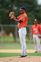 GCL Astros relief pitcher Bryan Abreu (20) during a game against the GCL Nationals on August 14, 2016 at the Carl Barger Baseball Complex in Viera, Florida.  GCL Nationals defeated GCL Astros 8-6.  (Mike Janes/Four Seam Images)