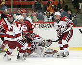 Alex Killorn (Harvard - 19), Jacob Drewiske (St. Lawrence - 13), Kyle Richter (Harvard - 33), Michael Biega (Harvard - 27) - The St. Lawrence University Saints defeated the Harvard University Crimson 3-2 on Friday, November 20, 2009, at the Bright Hockey Center in Cambridge, Massachusetts.
