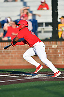 Johnson City Cardinals William Jimenez (32) swings at a pitch during game two of the Appalachian League, West Division Playoffs against the Bristol Pirates at TVA Credit Union Ballpark on August 31, 2019 in Johnson City, Tennessee. The Cardinals defeated the Pirates 7-4 to even the series at 1-1. (Tony Farlow/Four Seam Images)