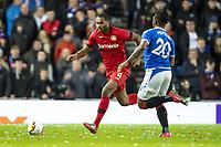 12th March 2020, Ibrox Stadiu, Glasgow, Scotland; Europa League football, Glasgow Rangers versus Bayer Leverkusen;  Leverkusen's Jonathan Tah (l) takes on Glasgow's Alfredo Morelos