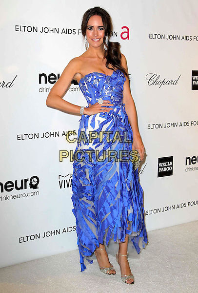 Louise Roe.21st Annual Elton John Academy Awards Viewing Party held at West Hollywood Park, West Hollywood, California, USA..February 24th, 2013.oscars full length blue dress strapless hand on hip streamers .CAP/ADM/KB.©Kevan Brooks/AdMedia/Capital Pictures.