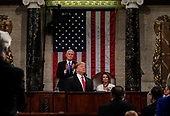 FEBRUARY 5, 2019 - WASHINGTON, DC: President Donald Trump delivered the State of the Union address, with Vice President Mike Pence and Speaker of the House Nancy Pelosi, at the Capitol in Washington, DC on February 5, 2019.<br /> Credit: Doug Mills / Pool, via CNP