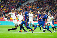 Sevilla FC /se154/, Luis Fernando Muriel and Pablo Sarabia and FC Barcelona Gerard Pique and Sergio Busquets during King's Cup Finals match between Sevilla FC and FC Barcelona at Wanda Metropolitano in Madrid, Spain. April 21, 2018. (ALTERPHOTOS/Borja B.Hojas)