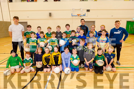 Having fun and enjoying the indoor GAA games at the Kerry Sports Academy Open Day at the I T Tralee on Saturday with David Clifford, Aidan O'Mahony and Dara Moynihan.