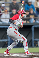 Indiana Hoosiers outfielder Craig Dedelow (39) follows through on his swing against the Michigan Wolverines during the NCAA baseball game on April 21, 2017 at Ray Fisher Stadium in Ann Arbor, Michigan. Indiana defeated Michigan 1-0. (Andrew Woolley/Four Seam Images)