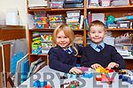 Twins Caoimhe and Jamie Spillane enjoying their first day of school in Coolick NS Kilcummin on Wednesday