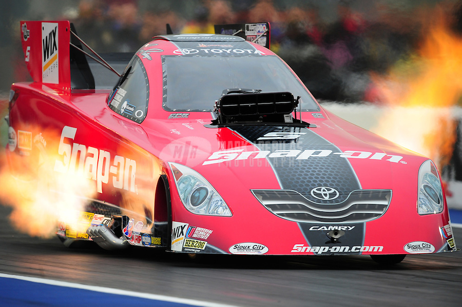Sept. 16, 2011; Concord, NC, USA: NHRA funny car driver Cruz Pedregon during qualifying for the O'Reilly Auto Parts Nationals at zMax Dragway. Mandatory Credit: Mark J. Rebilas-US PRESSWIRE