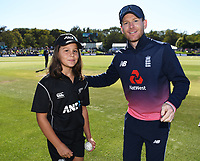 ANZ Coin toss winner with Eoin Morgan.<br /> New Zealand Blackcaps v England. 5th ODI International one day cricket, Hagley Oval, Christchurch. New Zealand. Saturday 10 March 2018. &copy; Copyright Photo: Andrew Cornaga / www.Photosport.nz
