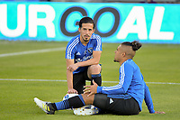 San Jose, CA - Saturday April 14, 2018: Jahmir Hyka, Quincy Amarikwa prior to a Major League Soccer (MLS) match between the San Jose Earthquakes and the Houston Dynamo at Avaya Stadium.